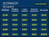 6th Grade Math Jeopardy Game- 2nd Quarter NC