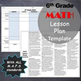 EDITABLE 6th Grade Math Lesson Plan Template with MAFS (common core) standards