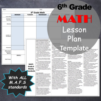 EDITABLE 6th Grade Math Lesson Plan Template with MAFS (common core) standards