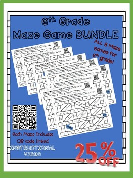 6th Grade Math Maze Game Bundle- 8 mazes in one