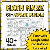 ⭐6th Grade Math Maze Growing Bundle⭐ PDFs & GOOGLE SLIDES