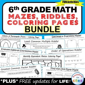 6th Grade Math Mazes, Riddles & Coloring Pages (Fun MATH Activities)
