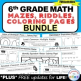 6th Grade Math Mazes, Riddles & Color by Number BUNDLE (Fu