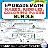 6th Grade Math Mazes, Riddles & Coloring Page BUNDLE   Pri