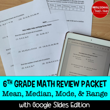 6th Grade Math Mean, Median, Mode, and Range Review Packet