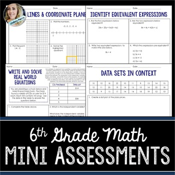 6th Grade Math Mini Assessments
