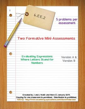 6th Grade Math:  6.EE.2 Mini-Assessments