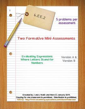 6th Grade Math:  6.EE.2 Mini-Assessments