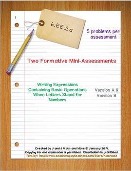 6th Grade Math:  6.EE.2a Mini-Assessments