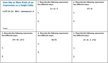 6th Grade Math:  6.EE.2b Mini-Assessments