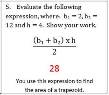 6th Grade Math:  6.EE.2c Mini-Assessments