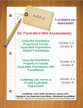 6th Grade Math:  6.EE.3 Mini-Assessments