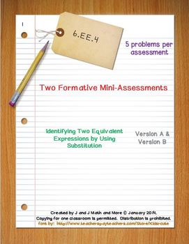 6th Grade Math:  6.EE.4 Mini-Assessments
