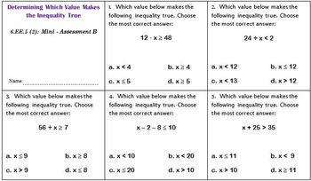 6th Grade Math:  6.EE.5 Mini-Assessments