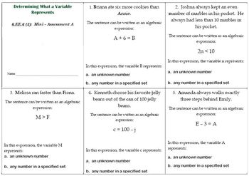 6th Grade Math:  6.EE.6 Mini-Assessments
