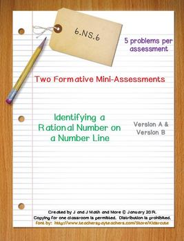 6th Grade Math:  6.NS.6 Mini-Assessments