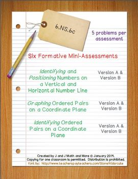 6th Grade Math:  6.NS.6c Mini-Assessments