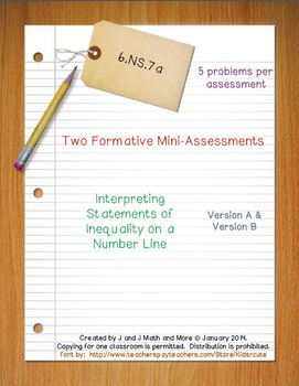 6th Grade Math:  6.NS.7a Mini-Assessments