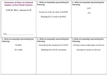 6th Grade Math:  6.NS.7b Mini-Assessments