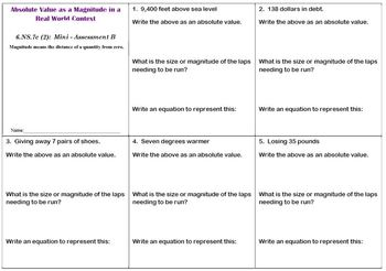 6th Grade Math:  6.NS.7c Mini-Assessments