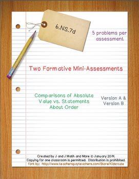 6th Grade Math:  6.NS.7d Mini-Assessments