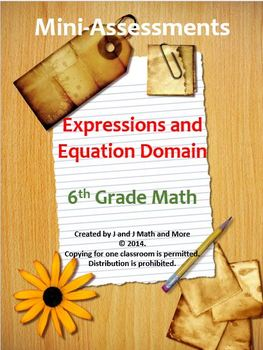 6th Grade Math:Mini-Assessments for the Expressions and Eq