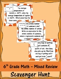 6th Grade Math Mixed Review Scavenger Hunt
