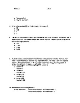 6th Grade Math Module 1 Lessons 1-15 Test