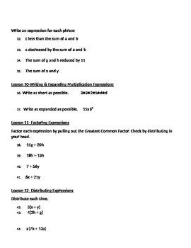 6th Grade Math Module 4 Practice Test Lessons 1-17
