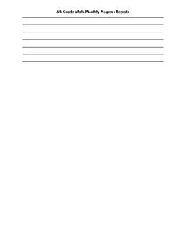 6th Grade Math Monthly Progress Reports