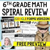 6th Grade Math Mystery Review - Digital Version SAMPLE for