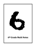 6th Grade Math Notes Title Page and Table of Contents