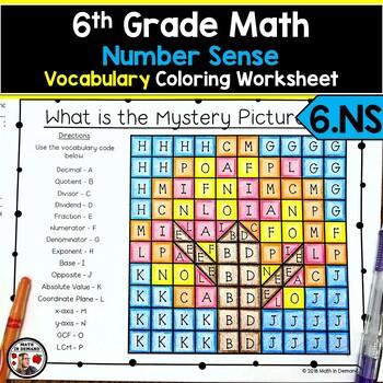 6th Grade Math Number Sense Vocabulary Coloring Worksheet