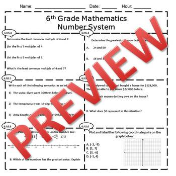 6th Grade Math Number System Assessment/Exam/Test/Review {EDITABLE}