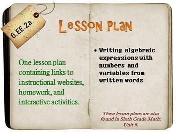6th Grade Math:  6.EE.2a:  One Lesson Plan