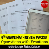 6th Grade Math Operations with Fractions Review Packet