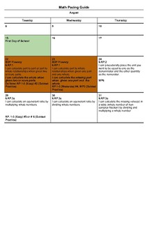 6th Grade Math Pacing Plan for August