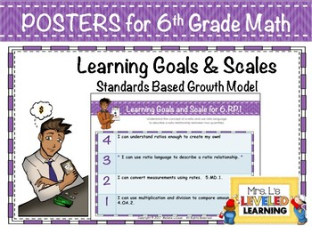 6th Grade Math Posters with Learning Goals & Scales (RP1-3) Editable Levels FREE