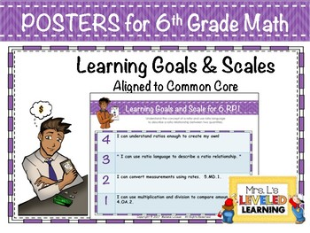 6th Grade Math Posters with Learning Goals and Scales - Aligned to Common Core