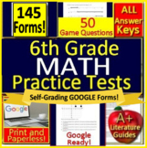 6th Grade Test Prep Math Practice AND Games Bundle Spiral Review Google Ready!
