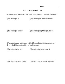 6th Grade Math Probability Review Packet