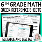 6th Grade Math Quick Reference Sheets - Great for Distance Learning