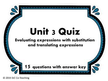 6th Grade Math Quiz for Unit 3 (Expressions)