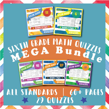 6th Grade Math Quizzes MEGA Bundle {Common-Core Assessments}