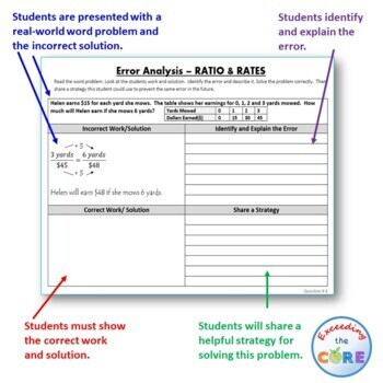 RATIOS AND RATES Word Problems -  Error Analysis  (Find the Error)