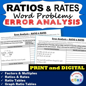 RATIOS AND RATES Word Problems -  Error Analysis  (Find th