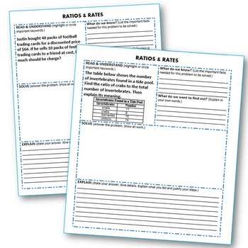 RATIOS AND RATES WORD PROBLEMS with Graphic Organizer