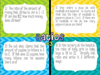 6th Grade Math Ratio Stations (Common Core)