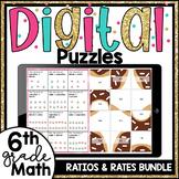 6th Grade Math Ratios Digital Puzzles Bundle 6.RP.1-6.RP.3