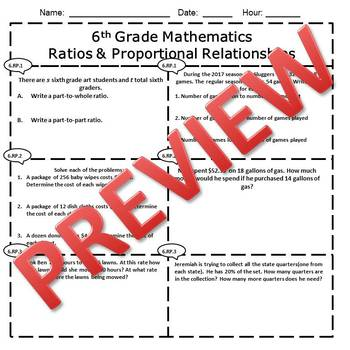 6th Grade Math Ratios & Proportional Relationships Assessment/Exam/Test/Review